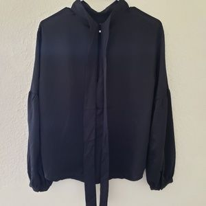 Long Sleeve Back Tie Blouse - Prologue Black